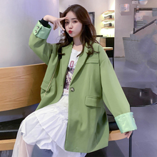Casual Loose Ladies Blazer Solid Green Stylish Simple Suit Jacket Long Sleeve Blazer Dames Korean Women Party Blazer MM60NXZ