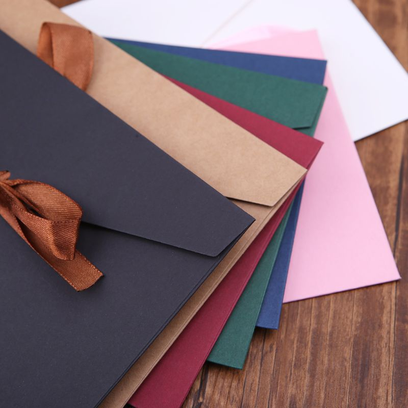 10pcs Retro Vintage Blank Bow Paper Envelopes For Letter Greeting Cards Wedding Party Invitations Postcard LX9A