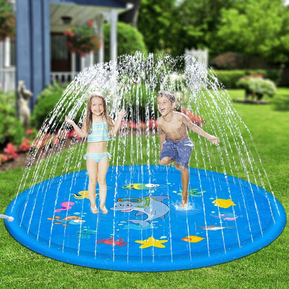 100cm/150cm/170cm 5styles Outdoor Lawn Beach Sea Animal Inflatable Water Spray Kids Sprinkler Play Pad Mat Games Cushion Toys