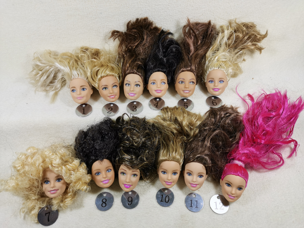 B20-7 Original Foreign Trade European Beauty1/6 OOAK NUDE Doll Head Mussed Hair For DIY Soft PVC Head  90%NEW