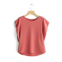 women elegant solid blouse o neck batwing short sleeve office ladies shirt work blusas femininas ZL27