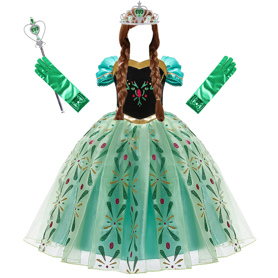 Anna Dress for Girl Cosplay Snow Queen Princess Costume Kids Halloween Clothes Children Birthday Carnival Fancy Party Disguise