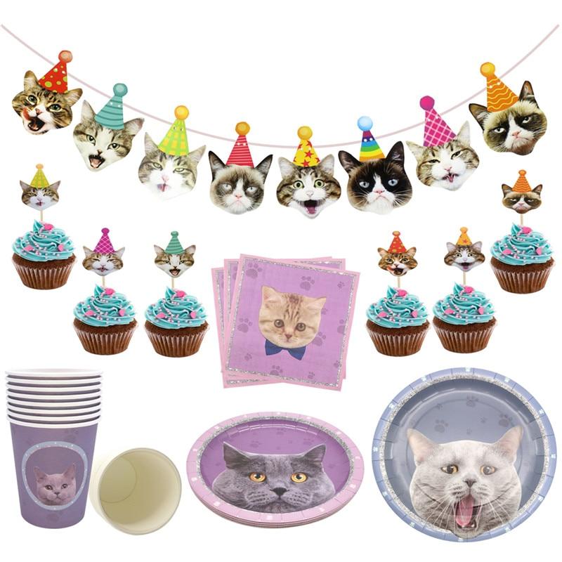1 комплект, бумажный стаканчик для дней рождения, тарелка, салфетка для вечеринки, бандаж для кошки, для детей, для дня рождения, баннеры для в...