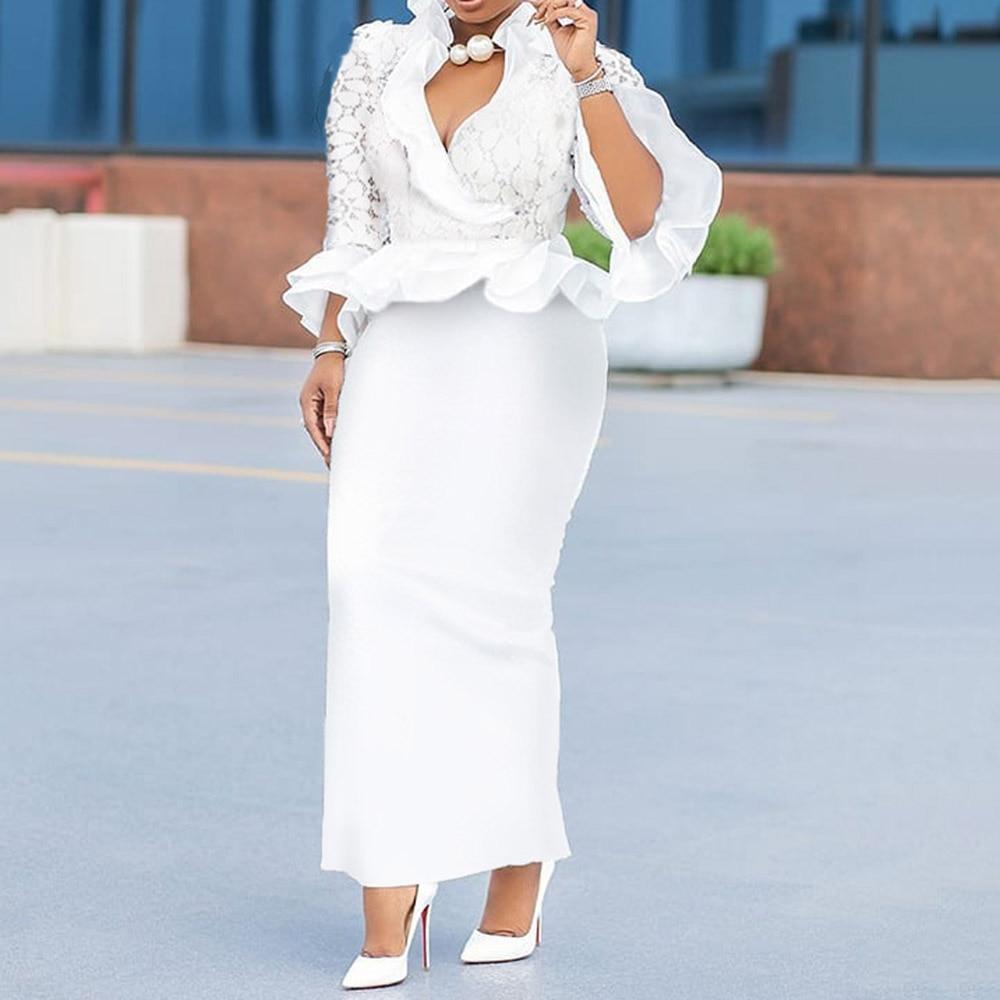 Elegant Lace Patchwork Ruffle White Long Dress
