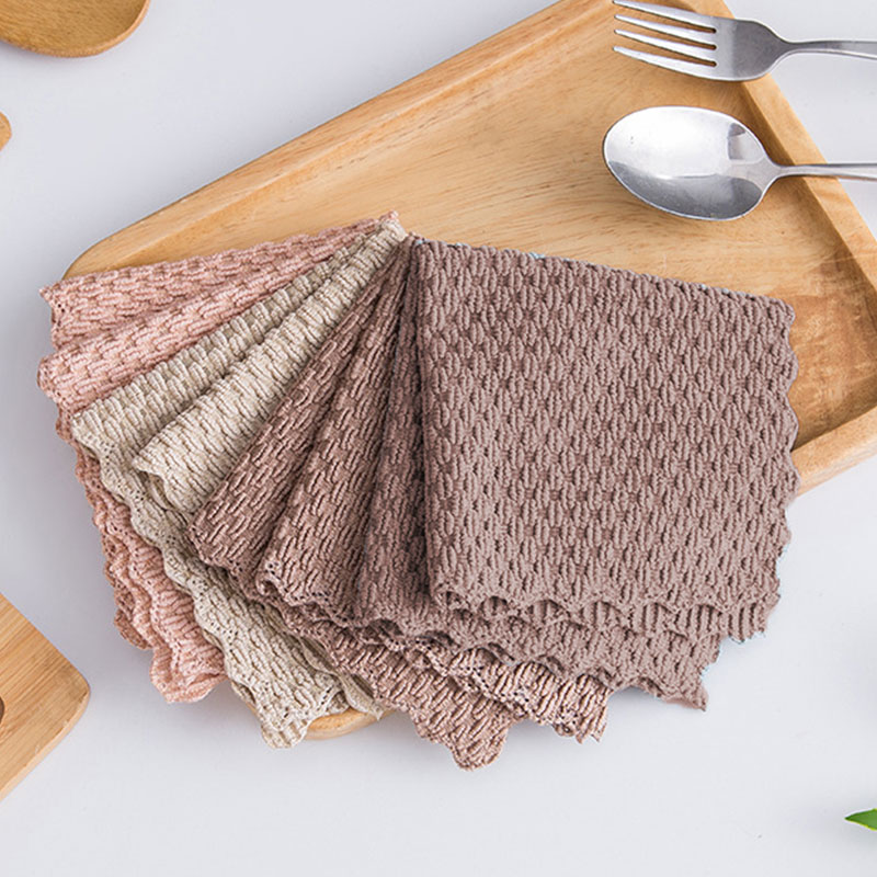 Supply 1pc Microfiber Kitchen Towel Absorbent Dish Cloth Non-stick Oil Washing Kitchen Rag Household Tableware Cleaning Wiping Tools Pleasant To The Palate