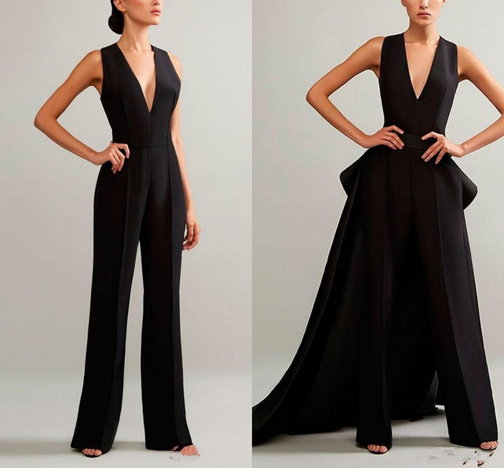 2020 Black Evening Jumpsuits With Detachable Skirt V Neck Prom Gowns Ruffles Peplum  Cheap Plus Women Formal Pant Suit