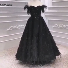 New Arrival Muslim evening dress 2020 Prom Black Feather Beading Evening gown Dubai Arabic long dresses evening Party dress