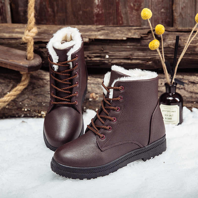 BONJOMARISA Dropship Plus Size 35-44 Waterdichte Snowboots Vrouwen 2019 Winter Casual lace-up Platte Laarsjes Lage hakken Schoenen Vrouw