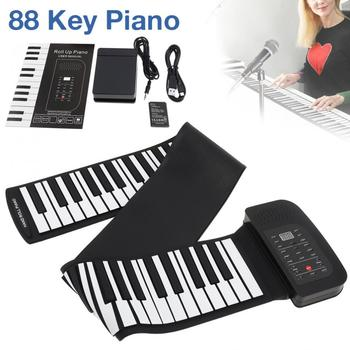 88 Keys Roll Up Electronic Piano Rechargeable Silicone Flexible Keyboard Organ Built-in Speaker Support MIDI Bluetooth