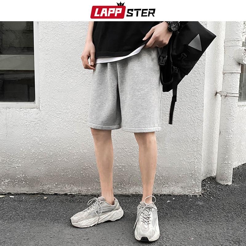 LAPPSTER Solid Cotton Shorts Men Summer 2020 Knee Length High Waist Sweatshorts Hip Hop Casual Sweatpants Plus Size Joggers 5XL