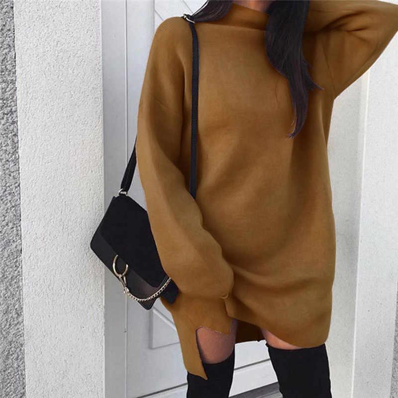2019 ฤดูหนาวเสื้อกันหนาวผู้หญิงเสื้อคอเต่าแขนยาวชุดจัมเปอร์ถักเสื้อกันหนาว Pullover หลวมชุด Midi