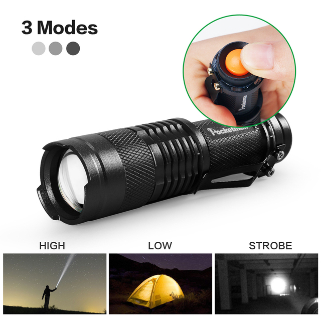 Mini Q5 T6 L2 LED Flashlight Pen Clip Telescopic Zoom Flashlamp Waterproof Torch Pocket Flash Light Use 14500 Or 18650 Battery 6
