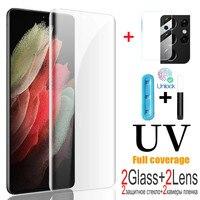 4-in-1 UV Gehärtetem Glas Screen Protector für Samsung S21 S20 S10 Plus Ultra Kamera Objektiv Film für Samsung Note 8 9 10 20 E Ultra