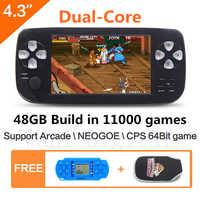 Consola de videojuegos portátil de doble núcleo JXD de 48GB y 4,3 pulgadas, juego integrado en 11000 para NEOGEO, CPS, GB, SNES, FC, MD, SMS, MP4 PDF