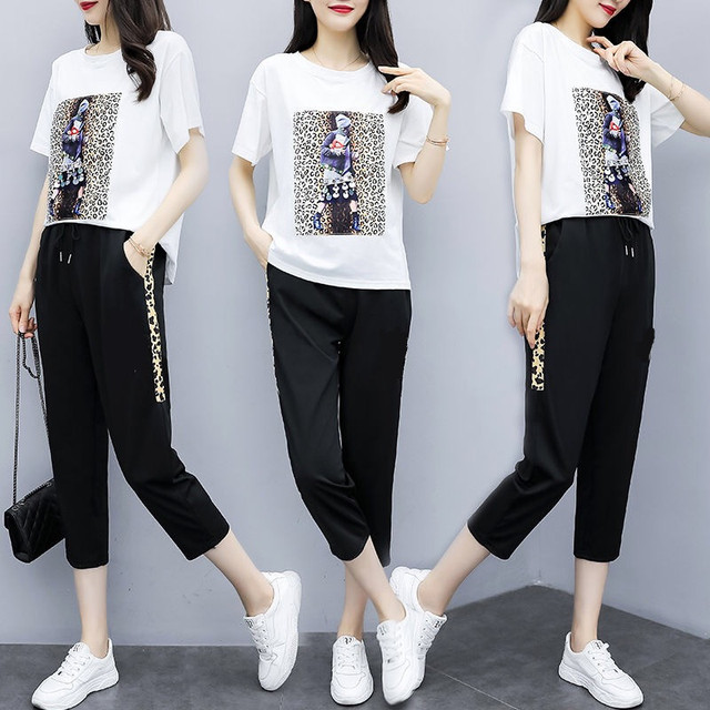 Summer Women's Black Oversize Tracksuits Casual Pantsuit Set Short Sleeve Tops Fashion Sportswear Calf-Length Pants Size 5XL 2