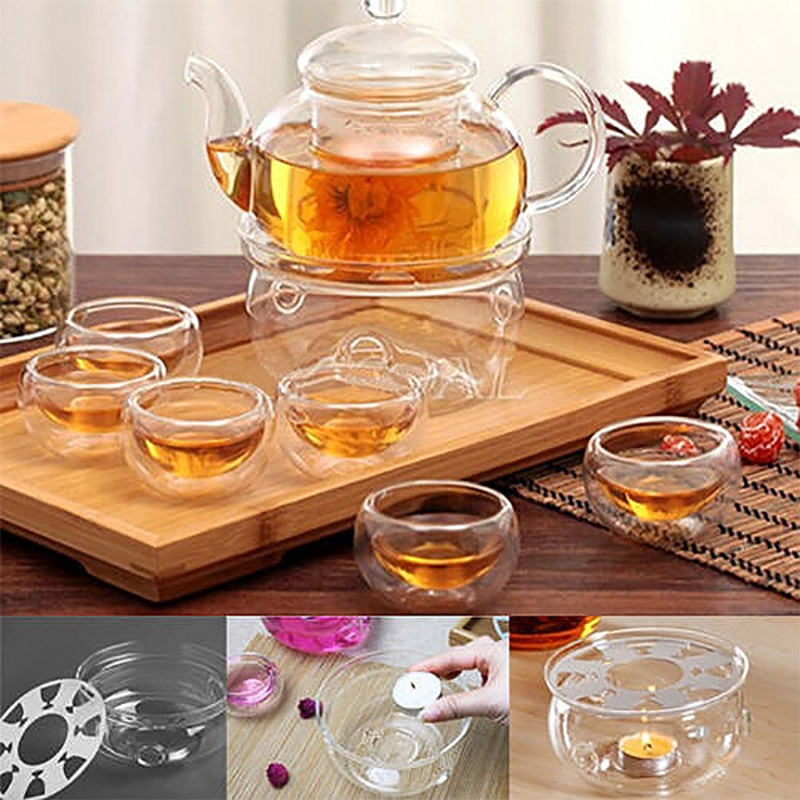 New Dish Coffee Tea Practical Clear Glass Portable Round Teapot Warmer Candle Base Heater Portable Teapot Warmer Insulation Base