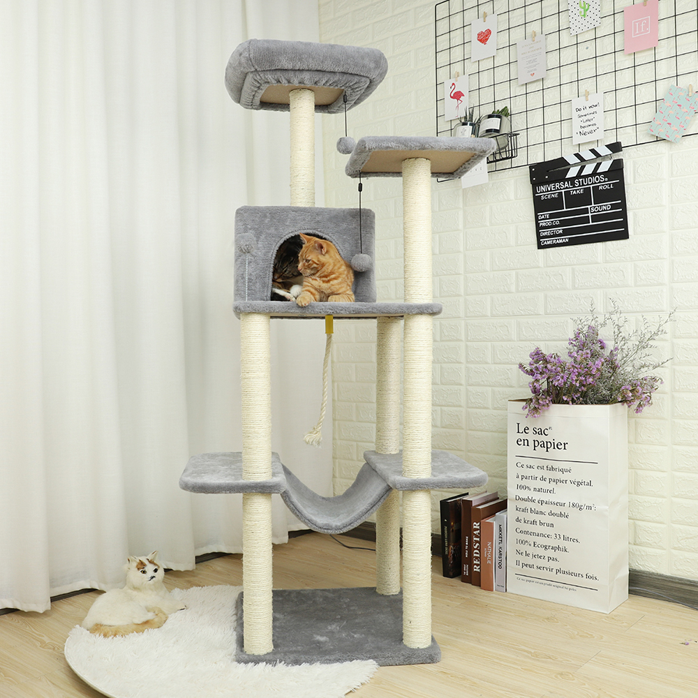 Domestic Delivery Luxury Cat Climbing Frame ulti Level Cat Tree with Sisal Covered Scratching Posts Cat Tower For Cat Kitten in Furniture Scratchers from Home Garden
