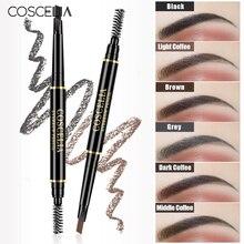 COSCELIA, 6 цветов, двухсторонний карандаш для бровей, стойкий макияж, ручка для бровей, косметика, легко нарисованный инструмент, карандаш
