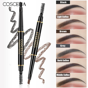 COSCELIA 6 Colors Double-Sided Eyebrow Pencil For Makeup Lasting Pen For Eyebrow Cosmetics Easy to Draw Tool Pencil