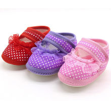Newborn Baby Shoes First Walkers Dot Lace Girls Soft Sole Prewalker Flats Shoes Lace Infant Princess Birthday Girls First Walker(China)