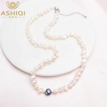 ASHIQI ожерелье из настоящего белого пресноводного жемчуга для женщин с чистым серебряные бусины 925 пробы, ювелирные изделия ручной работы, подарок