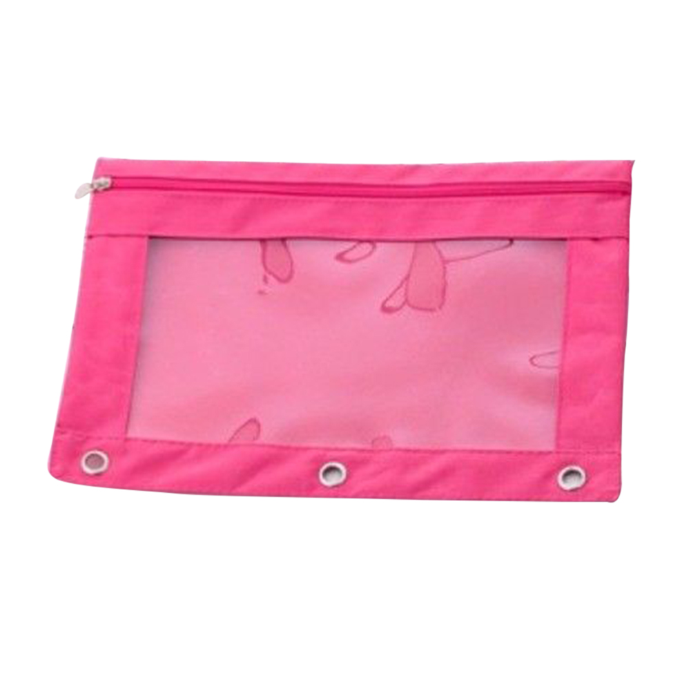 Solid Zippered Binder Pencil Pouch With Rivet Enforced Hole Student School Pencil Case 3 Ring Women Makeup Bags