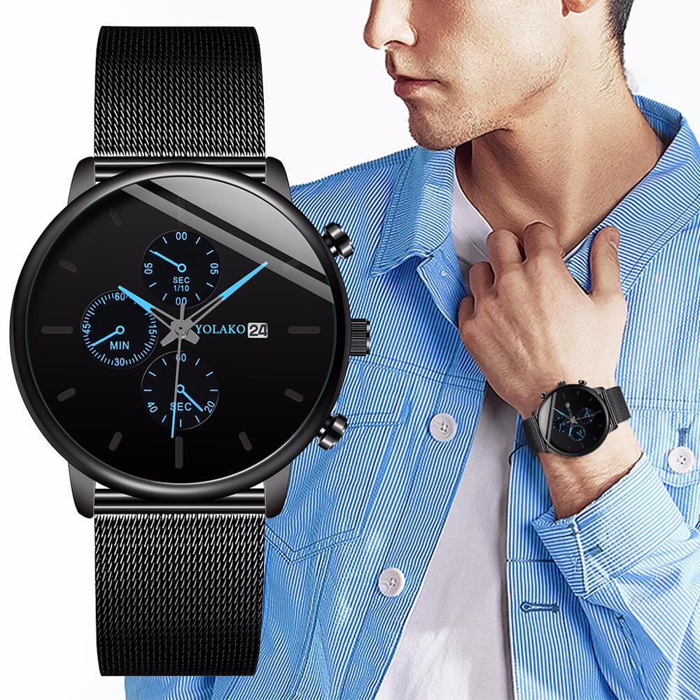 Quartz YOLAKO Men's Watch Relogio Masculino Fashion Calendar Mesh Belt Watch For Men Sport Watch Clock Relojes Hombre 2020