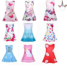Платье для девочек с принтом единорога; vestidos ; принцессы