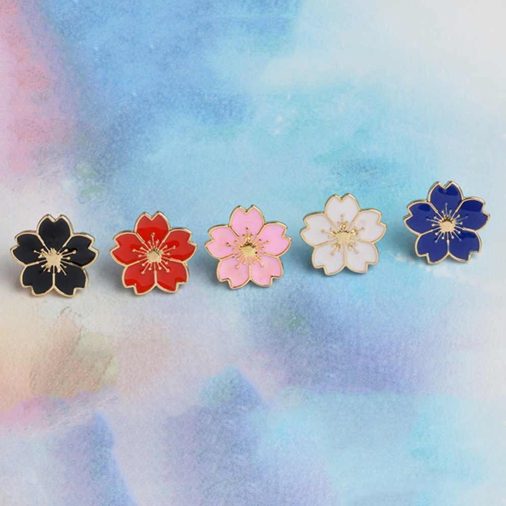 Cherry Blossoms Flower Brooch Enamel Pins Jacket Bag Pin Badge Jewelry Gift AL