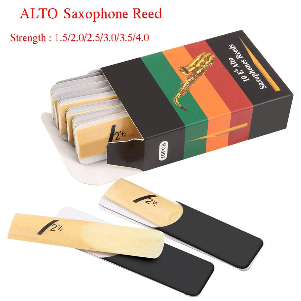 10 Pack Eb Alto Sax Saxophone Reeds Strength 1.5 2.0 2.5 3.0 3.5 4.0 Saxophone Reed Woodwind Instrument Parts Accessories