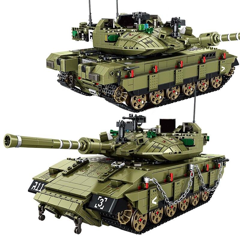 City 1730 шт. Израиль Меркава MK4 главный боевой танк модель строительные блоки военные WW2 армейские солдатские кирпич Дети DIY игрушки подарки