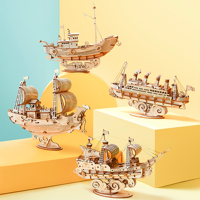 Robotime New 4 Kinds DIY Vintage Sailing Ship 3D Wooden Puzzle Game Assembly Boat Toy Gift for Children Teens Adult TG 2