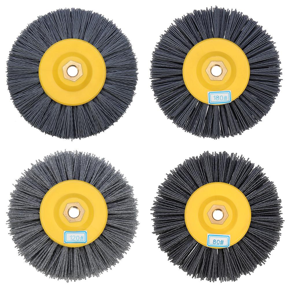 150x40mm M14 Nylon Wire Drawing Wheel Brush 80/120/180/320 Grit Drum Burnishing Polishing Wheel