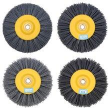 150x40mm m14 fio de náilon desenho roda escova 80/120/180/320 grit tambor polimento polimento roda