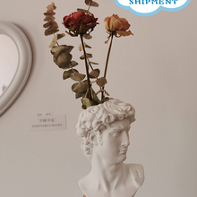 Decorative-Ornaments Flower-Vases Art-Decor Human-Head David Resin Nordic-Style Modern