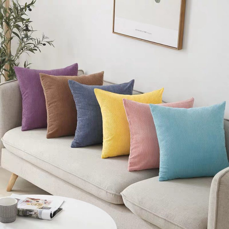 2pcs Soft Corduroy Cushion Cover Solid <font><b>Pillow</b></font> <font><b>Case</b></font> Yellow Gray Pink Decorative <font><b>Pillow</b></font> Cover <font><b>30x50</b></font>/40x40/45x45cm/50x50cm image