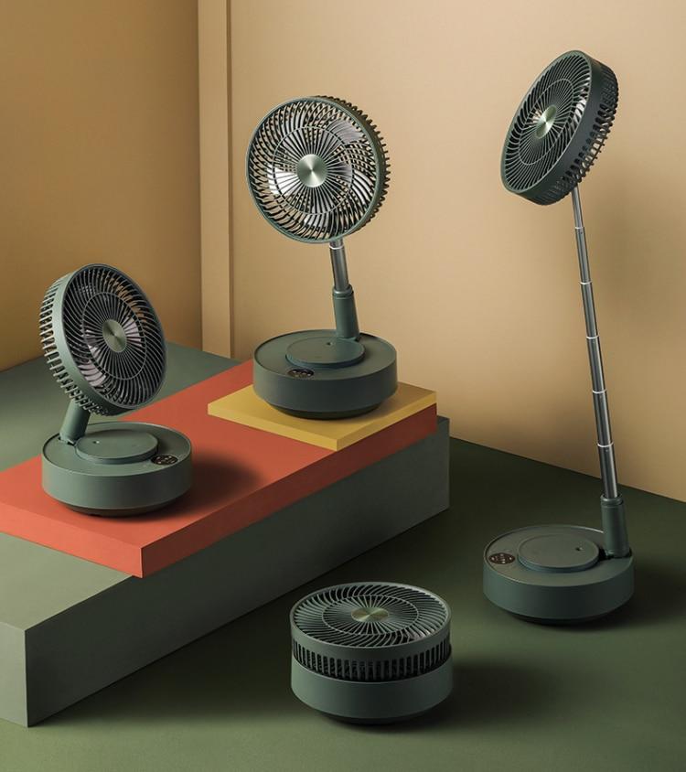 EDON E908 Telescopic Folding Electric Fan Floor Desktop Pedestal Fan Remote Control Charging Large Home Office With Humidifier