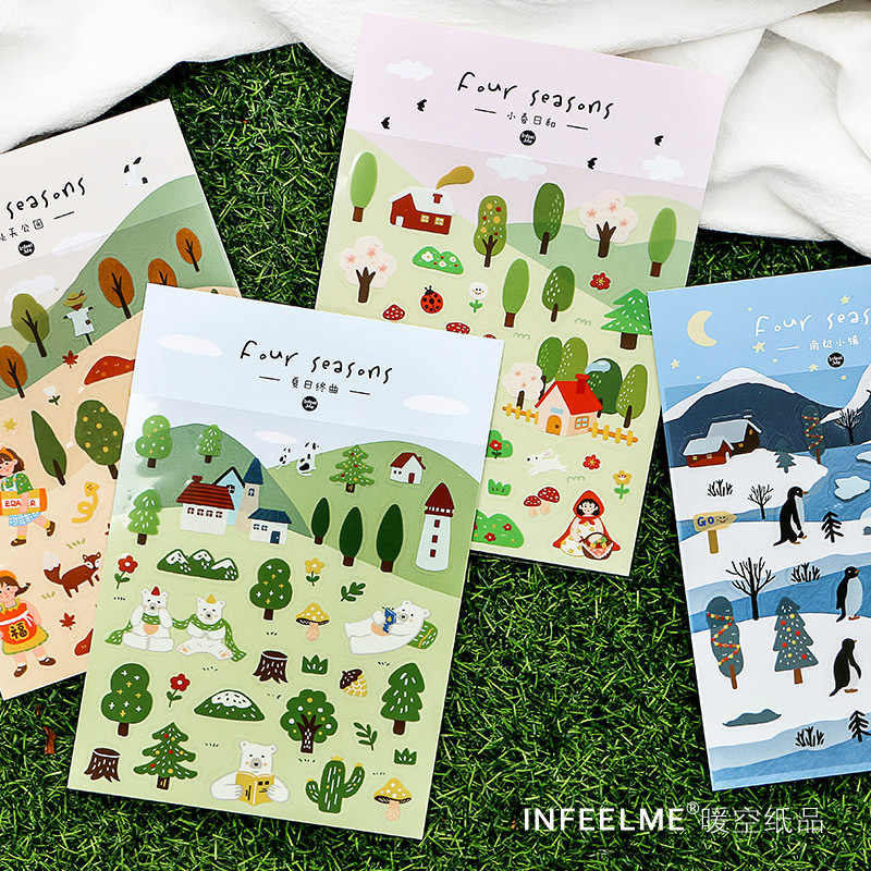 Season Forest Cartoon Kawaii Paper Scrapbooking Cat Stickers Girl Gift Cute Korean Stationery Sticky phone Stickers