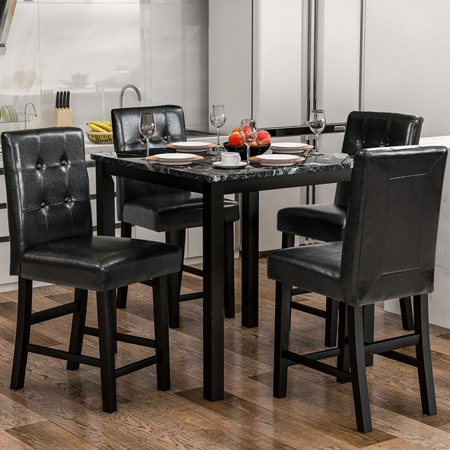 5 Piece Dining Room Set with Laminated Faux Marble Top 3
