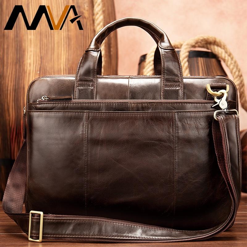 MVA Briefcase Male Messenger Bag Men's Genuine Leather Bag For Document Men Shoulder Travel Handbags Satchel Laptop 14 Inch 8902