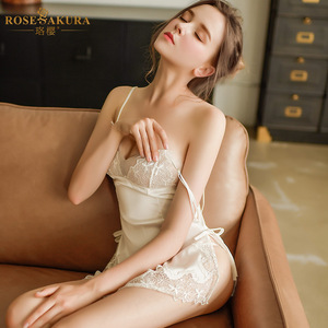 Image 1 - French Sexy nightgown Female Eyelashes Lace Perspective Temptation Straps Nightdress Embroidery Hollow Sexy Lingerie For Women