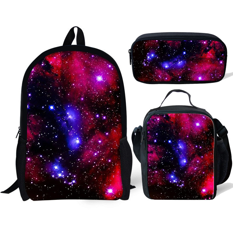 2020 Galaxy 3D Print School Bag Set 3pcs/set for Teen Boys Girls Kids School Backpack Starry Sky Schoolbag Book Bags Satchel