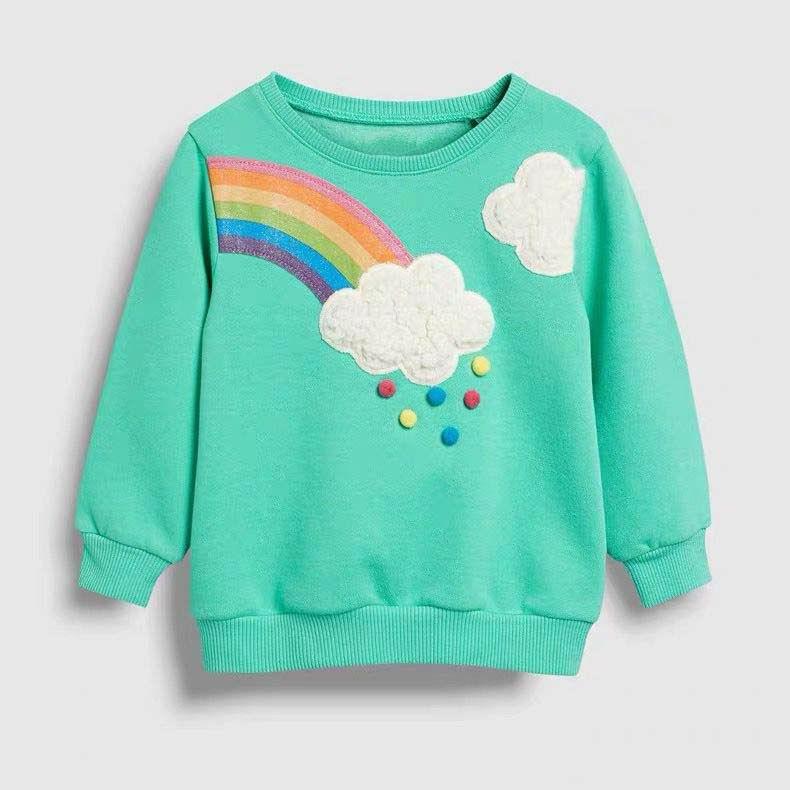 Little maven 2-7Years Autumn Rainbow embroidery Toddler Kids Baby Girl Sweatshirt Children's Little Clothing For Girl's Sweater 1