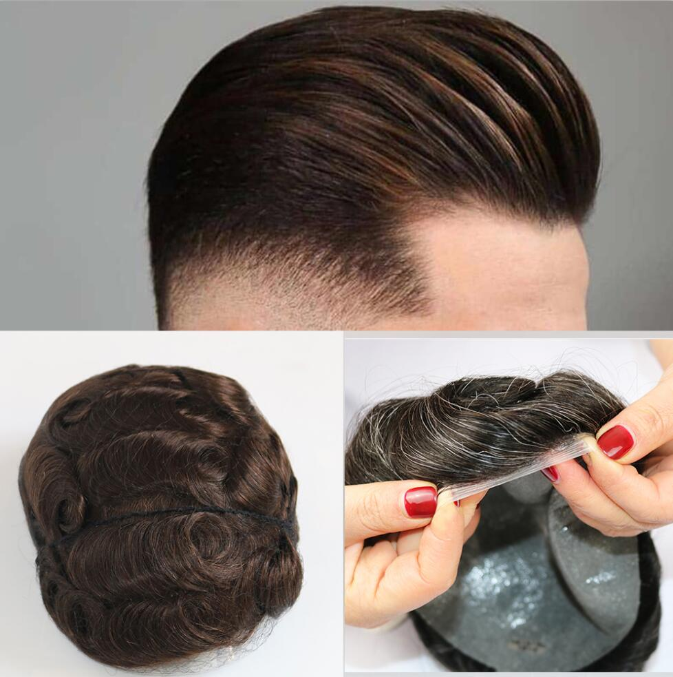 Stocked Mens Toupee Super Thin Base Size 8x10inch V Loop And Single Knots PU Wig Men Real Human Hair Toupee