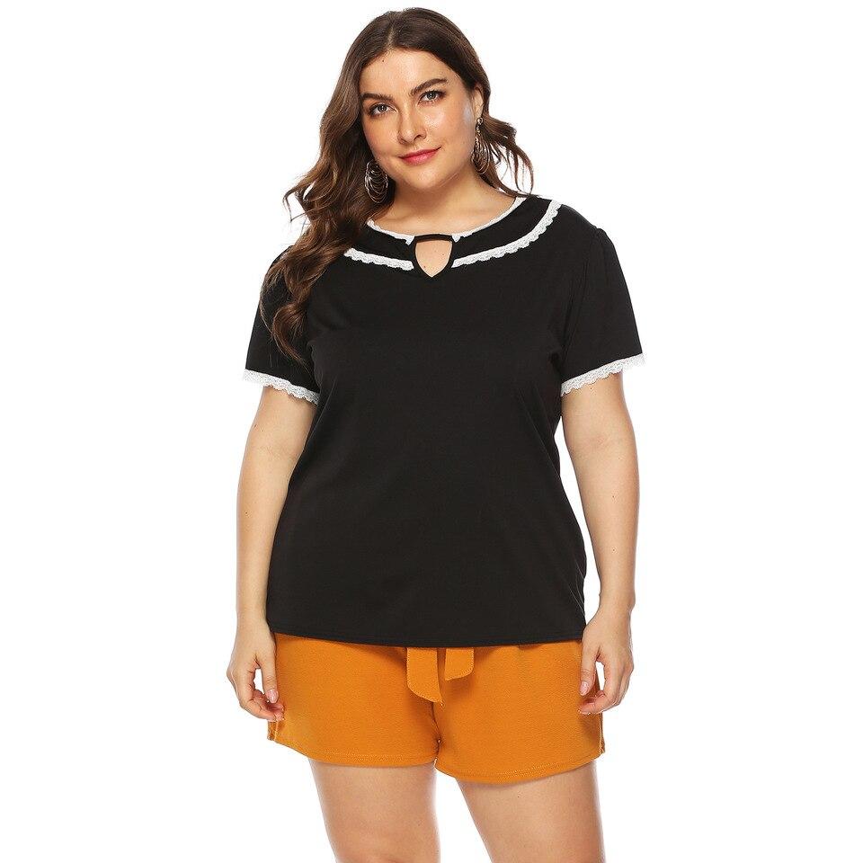 Ywlink Moda Para Mujer Tallas Grandes Solido O Cuello Encaje Hombro Camiseta Manga Corta Tops Blusa Camiseta De Gasa Para Mujer Casual Xl Xxxxxl Mujer Blusas Y Camisas