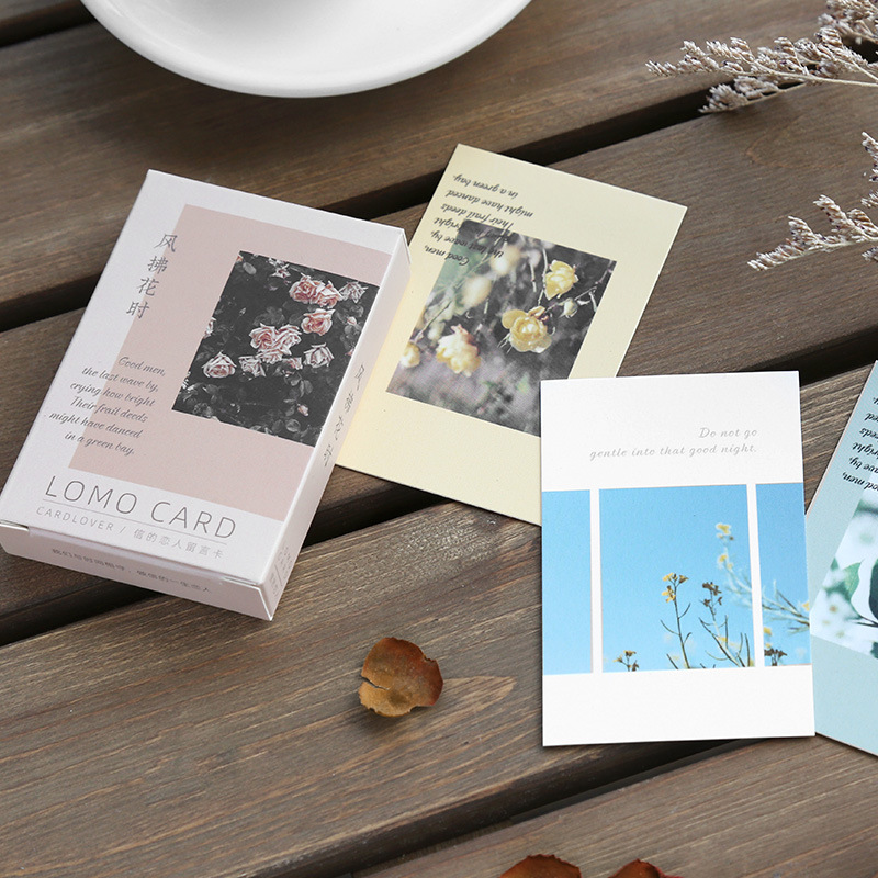28 Sheets/Set Natural Flower Plant Series Lomo Card Mini Postcard DIY Birthday Gift Card Message Card 52*80mm