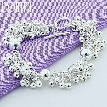 DOTEFFIL 925 Sterling Silver Grapes More Beads Charm Bracelets Jewelry For Fashion Women Wedding Engagement Gift doteffil 925 sterling silver grapes more beads charm bracelets jewelry for fashion women wedding engagement gift