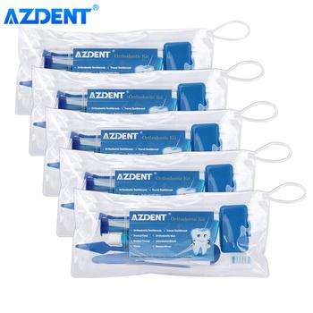 5 zestawów AZDENT Dental ortodontyczna szczoteczka do zębów zestaw podróżny czyszczenie wybielanie zębów szczoteczka międzyzębowa zestaw nici dentystycznych pielęgnacja jamy ustnej zestaw tanie i dobre opinie CN (pochodzenie) 8pcs kit Blue 1680000501*5