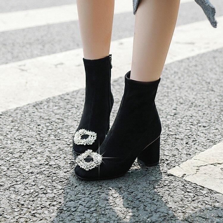 Grande taille 9 10 11 12 bottes femmes chaussures bottines pour femmes dames bottes chaussures femme hiver côté fermeture éclair avec fermoir carré