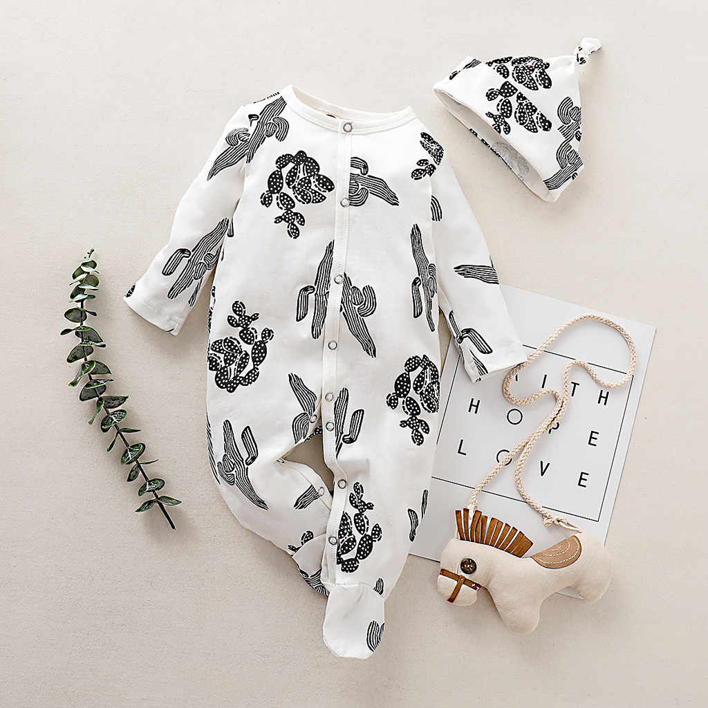 Newborn Toddler Infant Baby Boy Girl Clothes Long Sleeved Floral Romper Jumpsuit Pants Sleepwear Hat Outfits Set roupa#p4